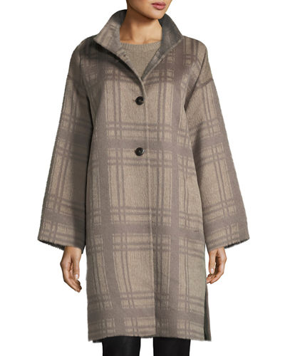 Eileen Fisher Luxe Alpaca/Wool Plaid Coat