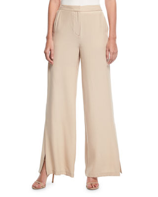 Wide-Leg Silk Pants w/ Slit Detail