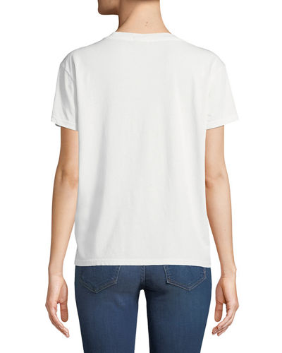 Goodie Goodie Short-Sleeve Boxy Cotton Tee w/ Embroidery