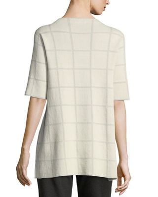 Image 2 of 3: Short-Sleeve Fine Windowpane Crepe Tunic