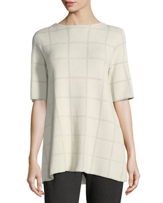 Image 1 of 3: Short-Sleeve Fine Windowpane Crepe Tunic