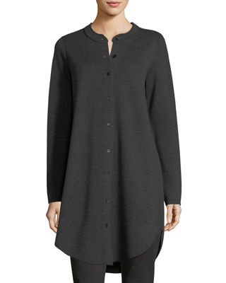 Eileen Fisher Merino Interlock Wool Mandarin-Collar Cardigan