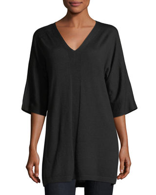 Image 1 of 2: V-Neck Merino Jersey Tunic