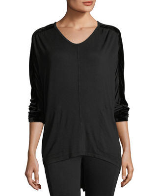 XCVI Orenda Terry Top W/ Velvet Detail, Plus Size in Black