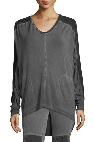 XCVI Plus Size Orenda Terry Top w/ Velvet Detail