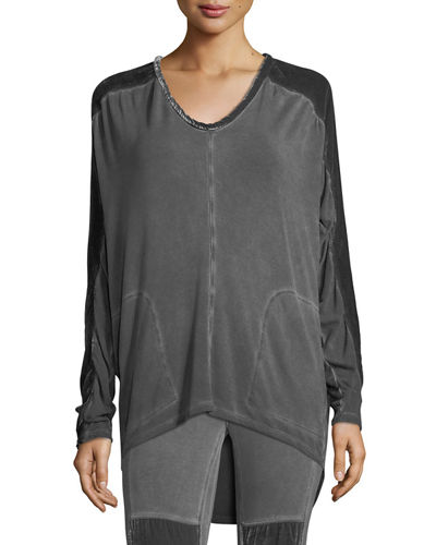 Orenda Terry Top w/ Velvet Detail, Plus Size