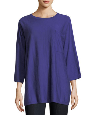 Eileen Fisher Fine Merino Jersey 3/4-Sleeve Top