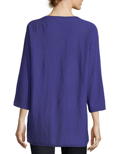 Fine Merino Jersey 3/4-Sleeve Top, Plus Size