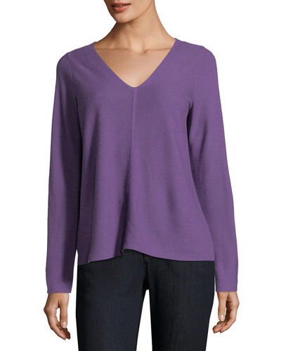 Eileen Fisher V-Neck Long-Sleeve Top, Petite