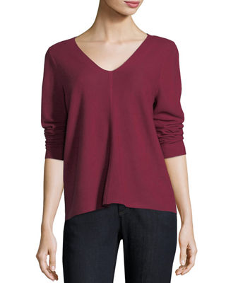 Image 1 of 2: V-Neck Long-Sleeve Top, Petite