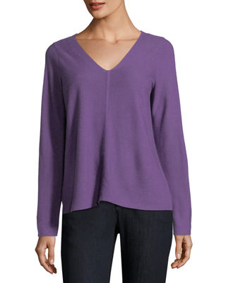 Eileen Fisher V-Neck Long-Sleeve Top, Plus Size