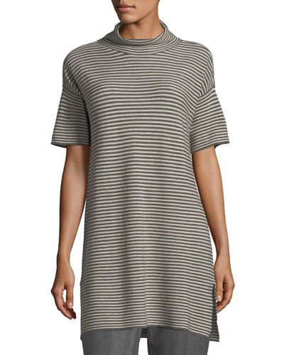 Eileen Fisher Short-Sleeve Striped Merino Tunic and Matching