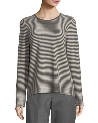 Eileen Fisher Long-Sleeve Striped Wool Tee