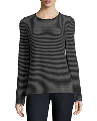 Eileen Fisher Long-Sleeve Striped Wool Tee, Petite