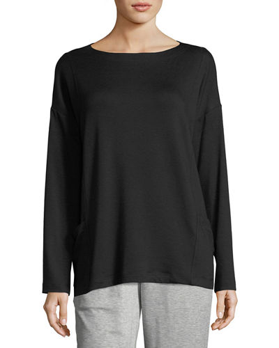 Bateau-Neck Stretch-Terry Top with Pockets