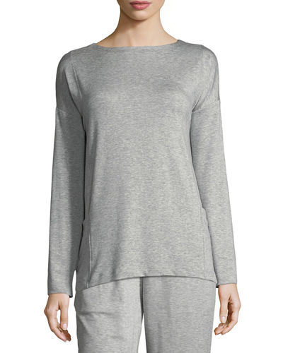 Eileen Fisher Bateau-Neck Stretch-Terry Top with Pockets