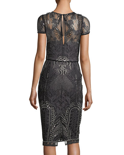 Embroidered Lace Cap-Sleeve Sheath Cocktail Dress