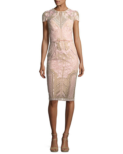 Marchesa Notte Embroidered Lace Cap-Sleeve Sheath Cocktail Dress