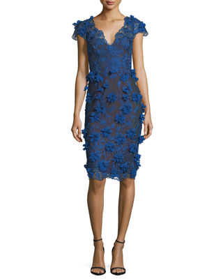 V-Neck 3D Petal Sheath Cocktail Dress