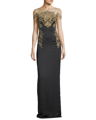 Marchesa Notte Crepe Evening Gown w/ Illusion &