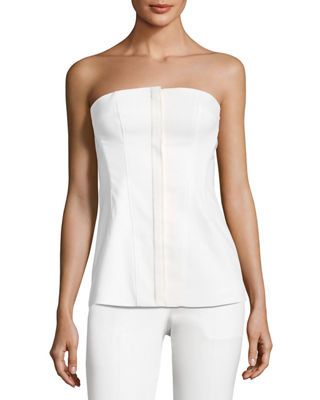 Image 1 of 3: Modern Bustier Zip-Front Wool-Blend Top