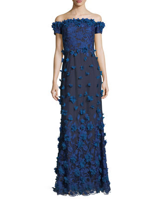 Marchesa Notte Off-the-Shoulder Column Evening Gown w/ 3D