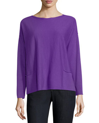 Eileen Fisher Organic Linen-Blend Box Top, Petite