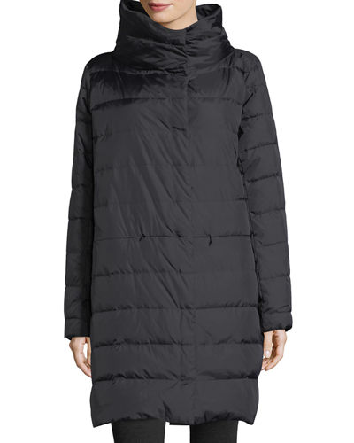 Weather-Resistant Down Puffer Cocoon Coat