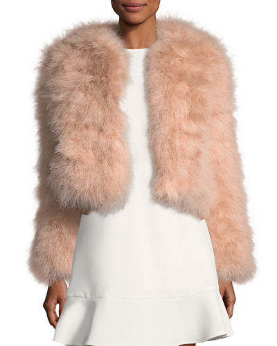 Pacha Long-Sleeve Short Feathered Jacket
