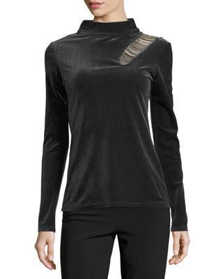 Elie Tahari Bristol Velour Mock-Neck Top w/ Chains