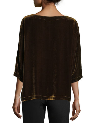 Velvet 3/4-Sleeve Box Top