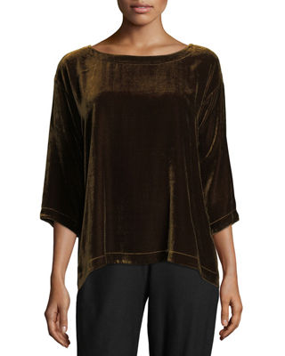 Velvet 3/4-Sleeve Box Top, Plus Size