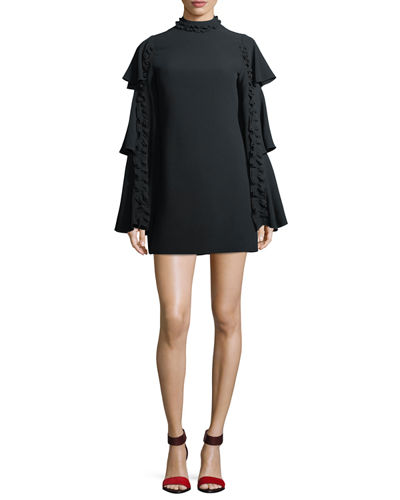 Alexis Marianne Tiered Bell-Sleeve Crepe Dress w/ Ruffled