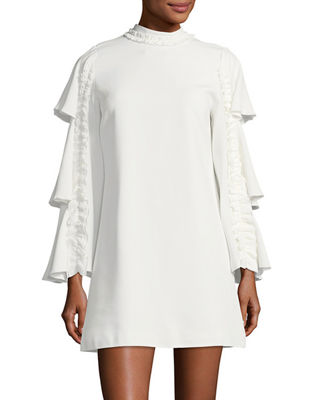 Marianne Tiered Bell-Sleeve Crepe Dress w/ Ruffled Trim