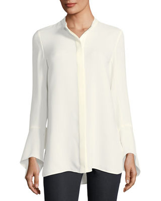Graydon Bell-Sleeve Silk Blouse