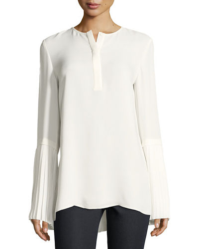 Shellie Pleated-Cuff Blouse