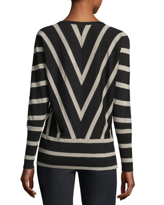 Image 2 of 3: Striped Wool Dolman-Sleeve Sweater