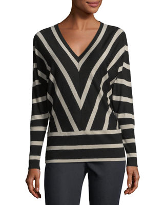Striped Wool Dolman-Sleeve Sweater