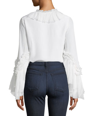 Image 2 of 4: Alvinna Deep-V Blouse w/ Ruffled Trim