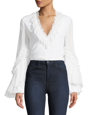 Alvinna Deep-V Blouse w/ Ruffled Trim