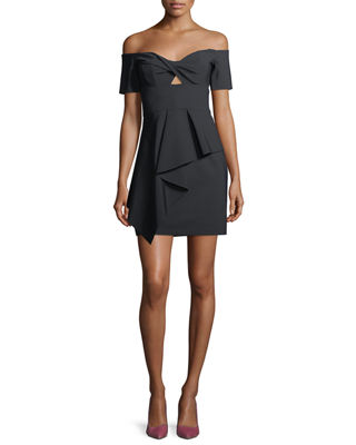 Image 1 of 2: Vanessa Off-the-Shoulder Mini Cocktail Dress