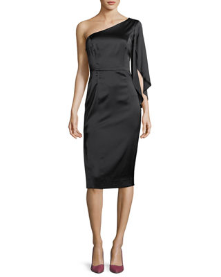 Milly Lauren One-Shoulder Stretch-Charmeuse Cocktail Dress