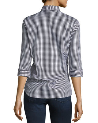 Image 2 of 2: Paget Ithaca Mini-Check Shirting Blouse