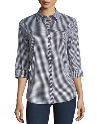 Image 1 of 2: Paget Ithaca Mini-Check Shirting Blouse