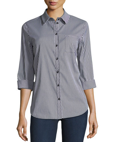 Paget Ithaca Mini-Check Shirting Blouse