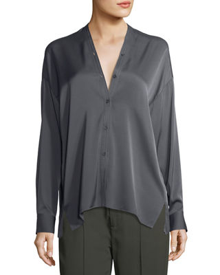Trapunto V-Neck Button-Front Silk Blouse