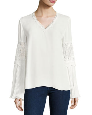 Kobi Halperin Christine Lace-Trim Flare-Sleeve Silk Blouse