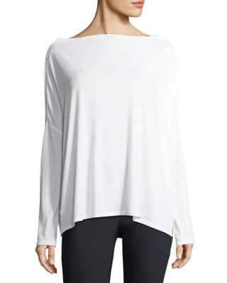 Vince Long-Sleeve Boat-Neck Cotton Pullover Top and Matching