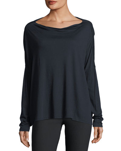 Long-Sleeve Boat-Neck Cotton Pullover Top