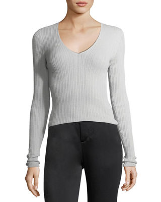 Vince Mixed Rib V-Neck Cashmere Sweater and Matching